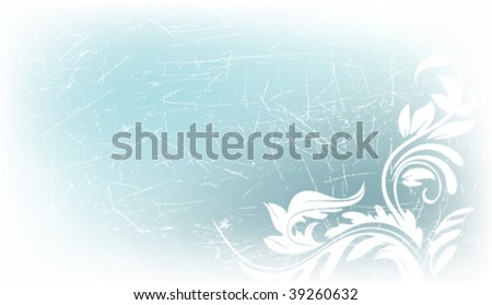 elegant grunge vector background with flower motives and space for text - stock vector