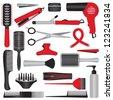 Elegant hairdressing related symbols - stock vector
