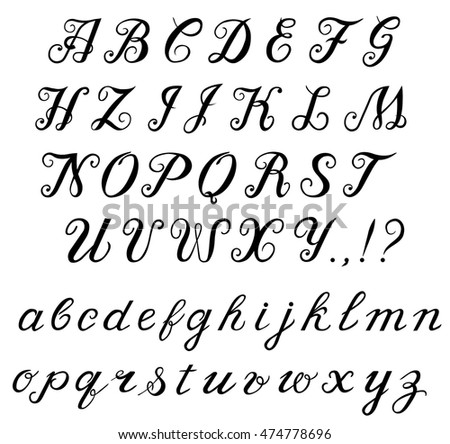 Elegant Hand Written Calligraphic Font Alphabet Capital Letters And Lowercase
