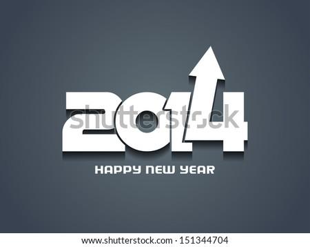 Elegant happy new year 2014 design with a progressive arrow. - stock vector
