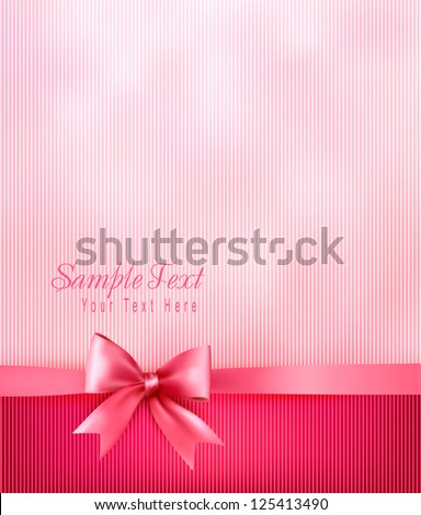 Elegant holiday background with gift pink bow and ribbon. Vector - stock vector