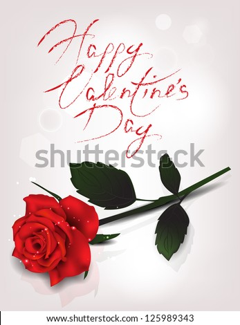 Elegant holiday card with red realistic rose Print