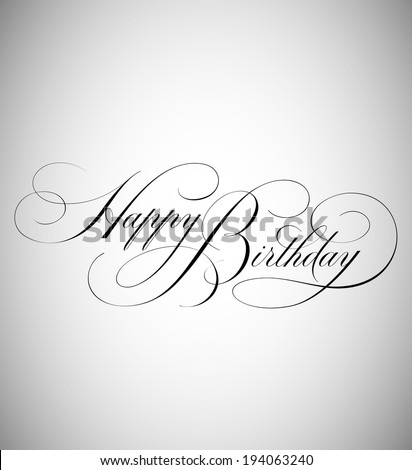 Elegant Holiday Vector Lettering in Script Style: Birthday - stock vector