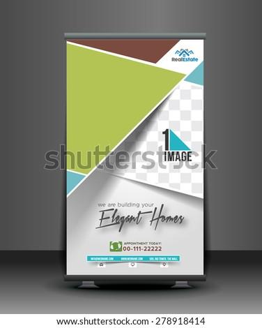 Elegant Homes Roll Up Banner Design - stock vector