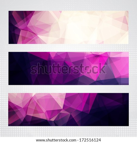 Elegant horizontal banners with light and dark pink transparent polygonal shapes. - stock vector