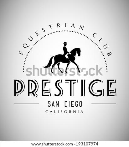 Elegant Horse Club Emblem - stock vector