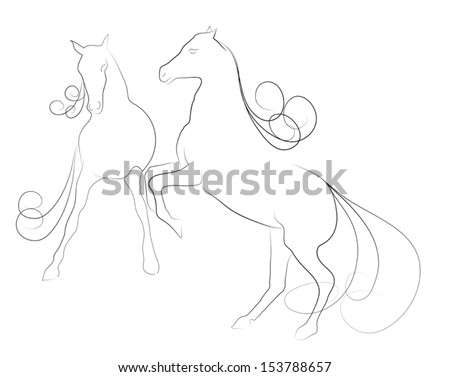 Elegant horses  done in a minimal style