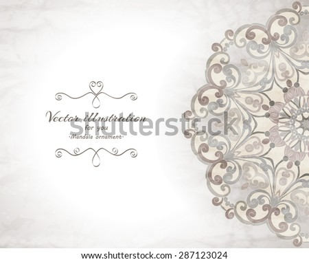 Elegant Indian ornamentation  background. Stylish design. Can be used as a greeting card or wedding invitation