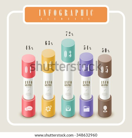 elegant infographic template design with column chart element