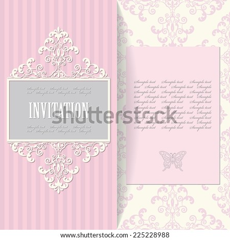 Elegant invitation card template. Seamless damask pattern included. - stock vector
