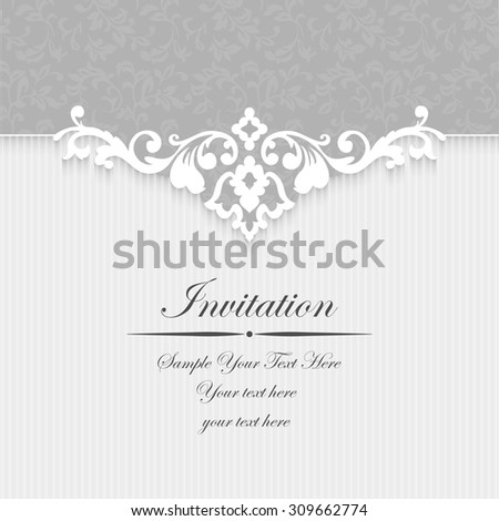 Elegant invitation. Decorative vintage frame. Beautiful floral greeting card. Vector damask illustration. - stock vector