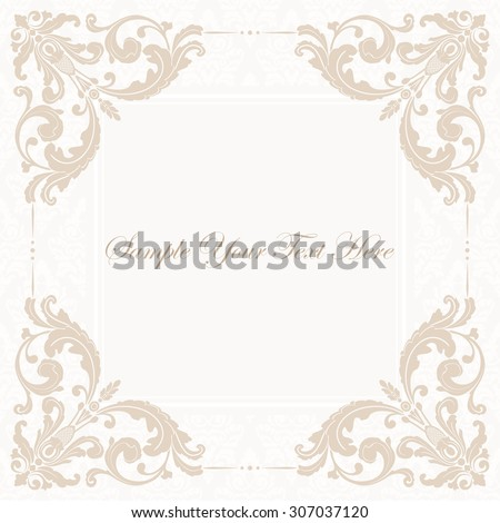 Elegant invitation. Decorative vintage frame. Beautiful floral invitation card. Vector damask illustration. - stock vector
