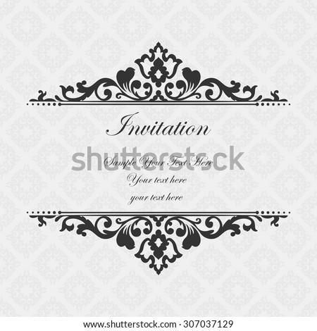 Elegant invitation decorative vintage frame beautiful stock photo elegant invitation decorative vintage frame beautiful floral invitation card vector damask illustration stopboris Choice Image