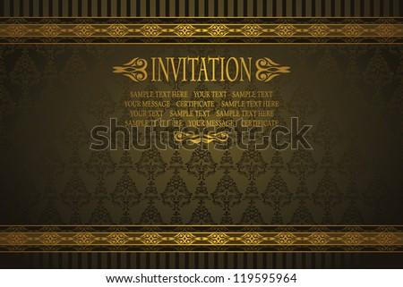 Elegant invitation with vintage seamless background - stock vector
