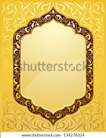 elegant islamic template design in gold background - stock vector