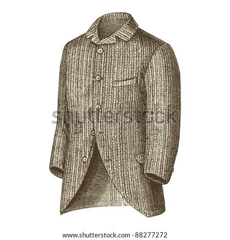 """Elegant jacket -Vintage engraved illustration - """"La mode illustree"""" by Firmin-Didot et Cie in 1882 France - stock vector"""