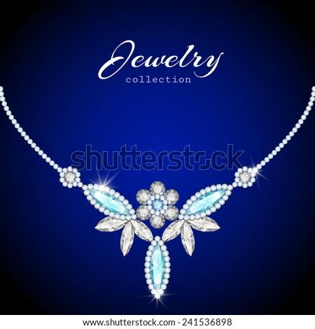 Elegant jewelry necklace, vector jewellery diamond decoration, eps10 - stock vector