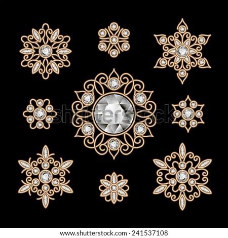 Elegant jewelry on black, vintage gold decoration, vector set of filigree diamond vignettes - stock vector