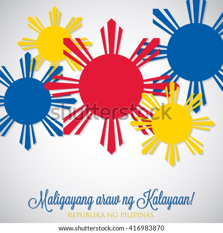 Elegant label Philippine Independence Day card in vector format. Translation: 'Happy Independence Day' 'Republic of the Philippines'