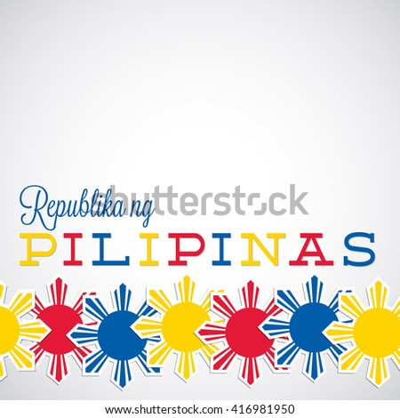 Elegant label Philippine Independence Day card in vector format. Translation: 'Republic of the Philippines'