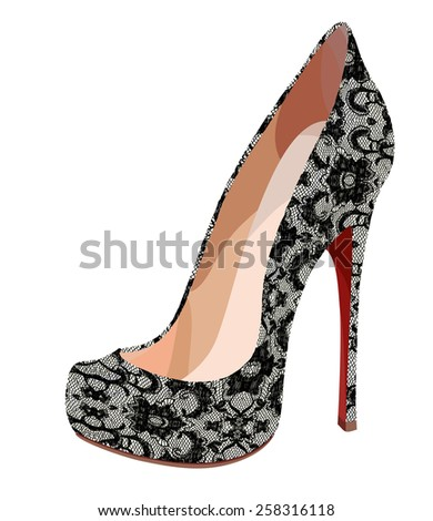 Elegant lace shoe. Vector illustration - stock vector