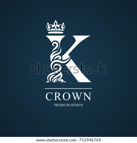Elegant Letter K Graceful Royal Style Calligraphic Beautiful Logo Vintage Drawn Emblem For