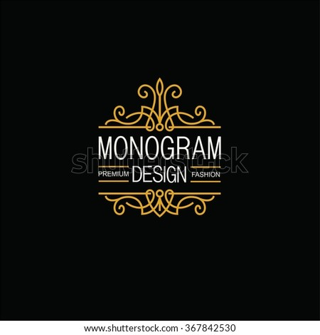 Elegant Line Art Logo and Monogram Design, vector template. - stock vector