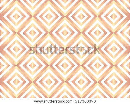 Elegant luxury art deco foil pattern. Rose gold vintage pattern on white background. Vector illustration for retro design. Rose gold abstract wallpaper.
