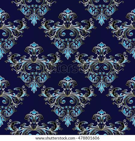 Elegant Luxury Floral Baroque Damask Vector Seamless Pattern Wallpaper Illustration With Vintage Stylish Decorative Light Blue