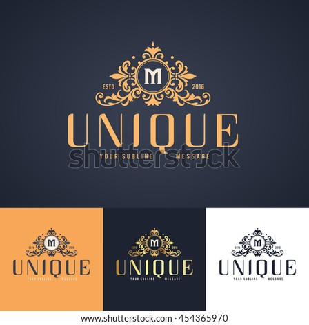 elegant luxury monogram logo or badge template in different color versions  - stock vector