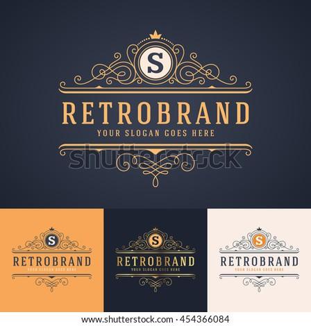 elegant luxury monogram logo or badge template in different color versions  - stock vector