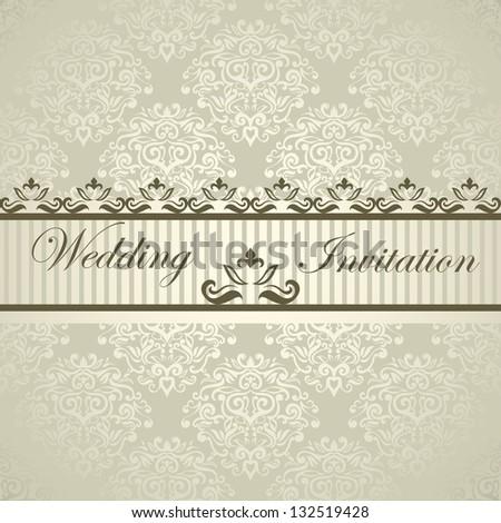 Elegant luxury wedding card with light damask designed royal border - stock vector