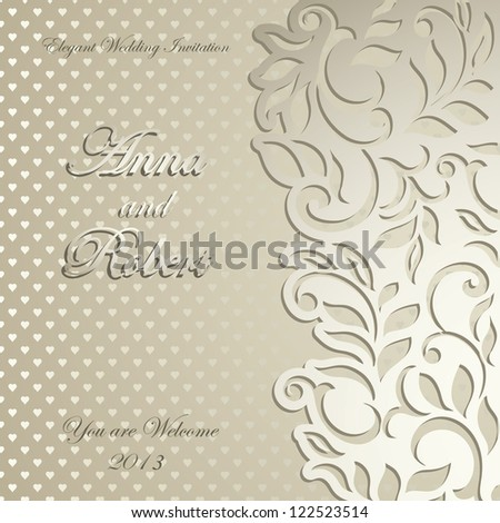 Elegant luxury Wedding Invitation, floral-lace design