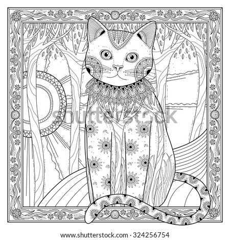 elegant magic cat coloring page in exquisite style - stock vector