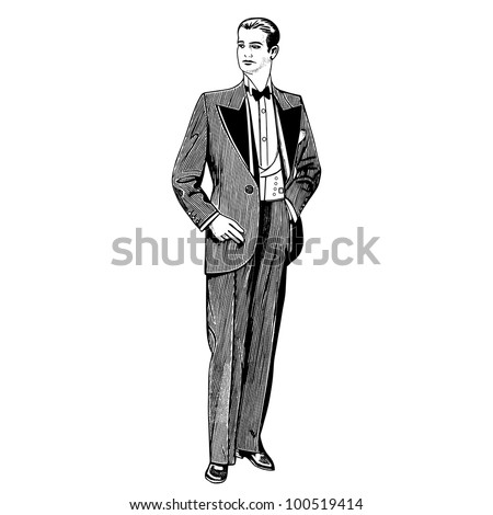 elegant man wearing a tuxedo - Catalog of a French department store - Paris 1930