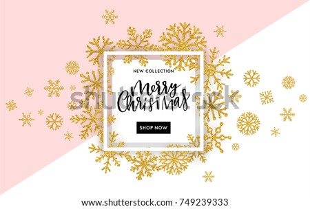 Elegant Merry Christmas lettering design with shining gold glittering snowflakes in white frame on white background. Vector illustration EPS 10