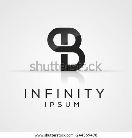 Elegant minimal letter symbol. Alphabet P and B logo design. Vector illustration. - stock vector