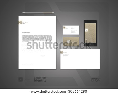 Elegant minimal style corporate identity template. Letter envelope and business card design.  Typographic N symbol. Vector illustration. - stock vector