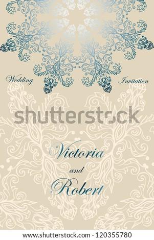 Elegant modern lace-designed tender wedding invitation - stock vector