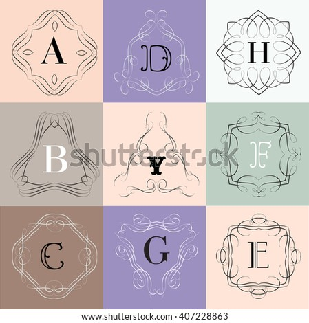 Elegant monogram design. Vector linear frame and logo template. Trendy and calligraphic elegant ornament elements. Identity design