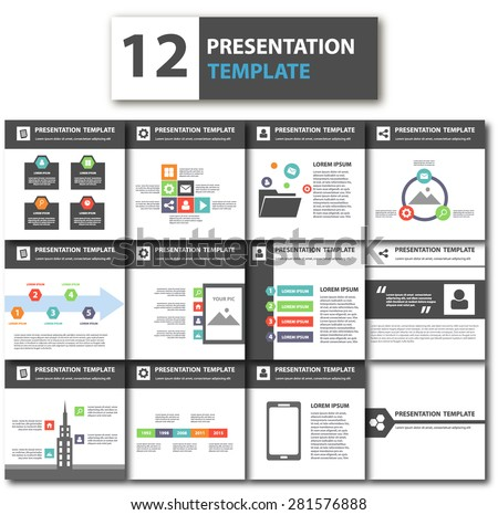 Elegant Multipurpose Business Presentation Template brochure flyer design Set  - stock vector