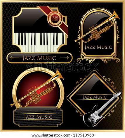 Elegant music labels - stock vector