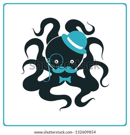 Elegant octopus - stock vector