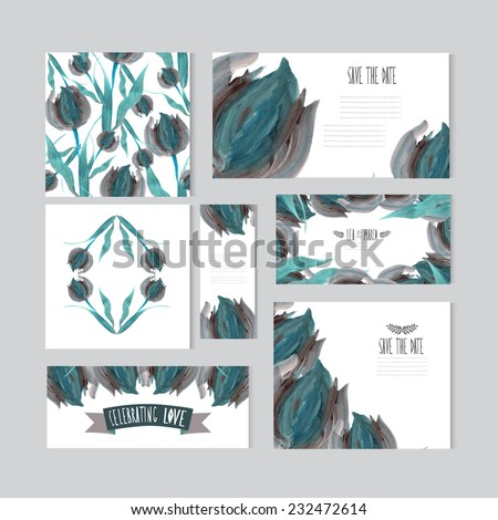 Elegant oil painted blue tulip cards, design elements. Can be used for wedding, baby shower, mothers day, valentines day, birthday cards, invitations, banners, flyers, gift wrap, print, manufacturing - stock vector