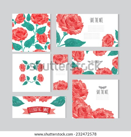 Elegant oil painted red roses cards, design elements. Can be used for wedding, baby shower, mothers day, valentines day, birthday cards, invitations, banners, flyers, gift wrap, print, manufacturing - stock vector
