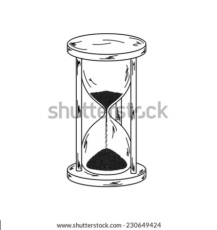 elegant old sandglass on white background, sketch, vector, isolated - stock vector