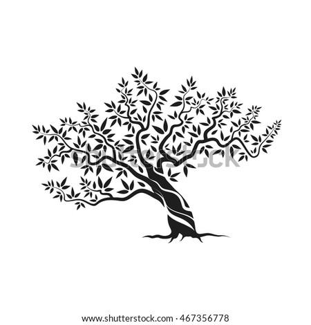 Elegant Olive Tree Isolated Icon Web Stock Vector 473115532