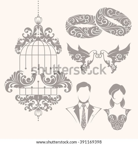 Elegant ornamental decorative wedding symbols and illustrations set for invitation, banner, poster, business sign, identity, branding. Ornate couple of doves with rings, bride, groom, couple rings - stock vector
