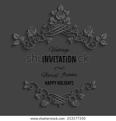 Elegant ornate floral frame on dark background. - stock vector