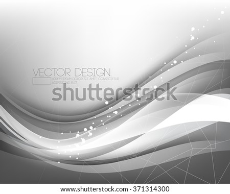elegant overlapping wave chrome effect with polygon lines  - stock vector